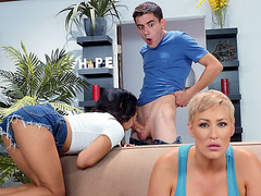 Jeni Angel and Ryan Keely are sucking Jordi's cock