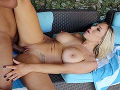 Busty bombshell Olivia Austin gets banged by Ricky Johnson outdoors