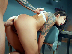 Inked Gina Valentina gets her twat drilled from behind