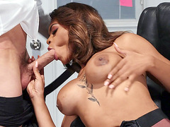 Ebony Halle Hayes is sucking the white cock in the office