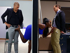Osa Lovely gets her mouth and pussy fucked in the office