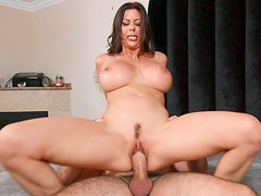 Busty Alexis Fawx slides her trimmed pussy on the hard prick