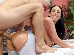 Angela White leaned on the massage table and got her ass fucked