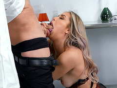 Blonde Alina Lopez is sucking the dick