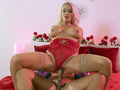 Blonde Maddy O'Reilly rides and sucks the hard cock