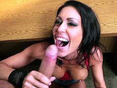 Jessica Jaymes deepthroating big piece of meat