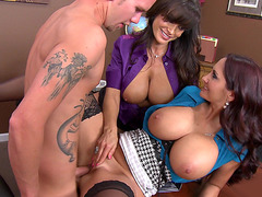 Lisa Ann and Ava Addams getting fucked on the desk