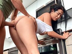 Katrina Jade gets her twat banged standing