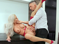 Nina Elle gets her pussy licked and fucked on the desk