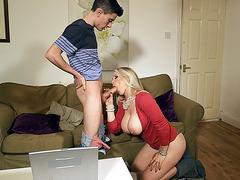 Rebecca More orally serves Jordi's cock