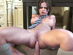 Black Angelika slides his cock in her ass and rides