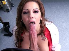 Naughty nurse Lylith Lavey sucking cock