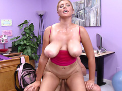 Busty natural babe Athena Pleasures bounces on his pole