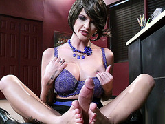 Joslyn James jerks his pole with her feet