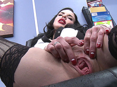 Veronica Avluv solo masturbating in the office