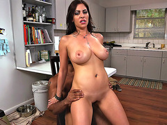 Jazmyn riding black cock as her tits bounces