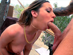 Jada Stevens deepthroating huge piston outdoors