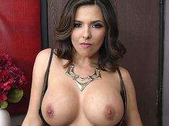 Danica Dillan seducing a random guy with her large tits