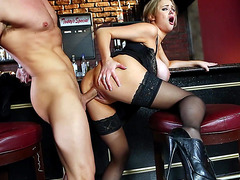 Busty bitch Katie Kox deeply penetrated in the bar