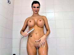 Naked bitch Jasmine Jae taking a shower