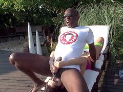 Valentina Nappi does a rimjob near the pool