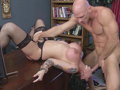 Darling Danika sucks him off as she lays on the desk