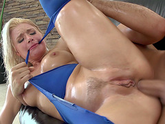 Anikka Albrite gets her booty hole railed from the rear