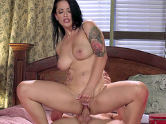 Katrina Jade riding her new lover reverse cowgirl style