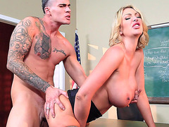 Leigh Darby has her student fuck her juicy twat