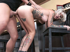 Tattooed whore Kleio Valentien has her cunt slammed standing up