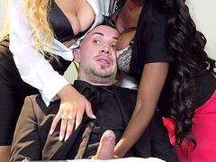 Anya Ivy, Diamond Jackson, Jade Aspen, and Jasmine Webb sucking one dick