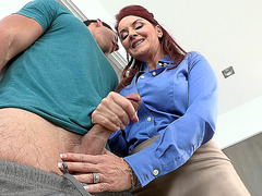 Horny mom Janet Mason stroking big young cock