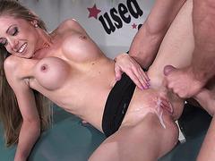 Busty Shawna Lenee taking big load on her pussy