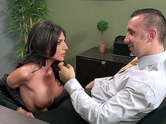Jaclyn Taylor deepthroats thick dick in the office