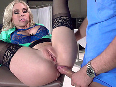 Christie Stevens gets her both fuck holes drilled by her patient