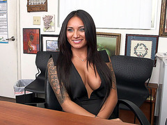 Hot Latin girl Natalia Mendez gets interviewed