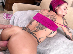 Anna Bell Peaks receiving cum in mouth while getting fucked