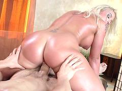 Sexy Leya Falcon riding cock reverse cowgirl style