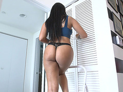 Ada Sanchez teases while cleaning the house